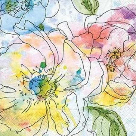 Servilleta decorada flores de acuarela