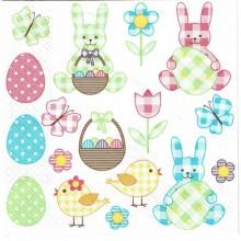 Servilleta decorada conejos con huevos de pascua