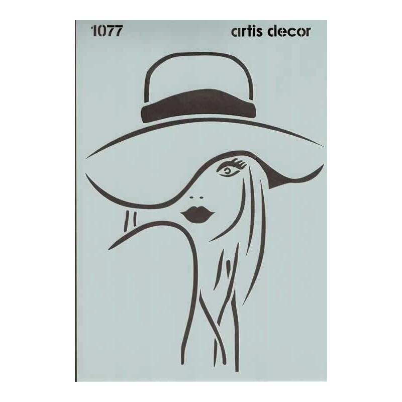 Plantilla stencil Chica con sombrero 20 x 28 cm