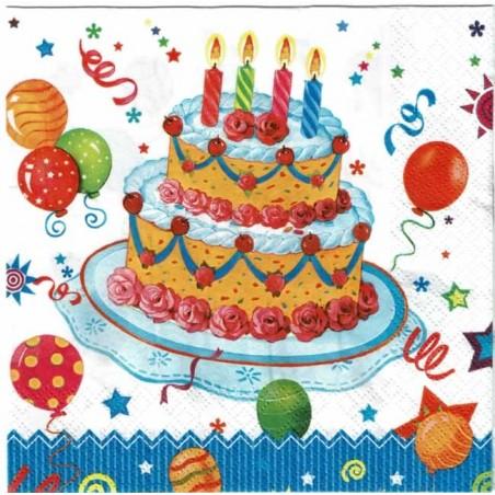 Servilleta decorada pastel de cumpleaños