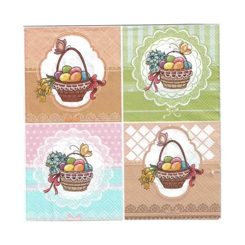 Servilleta decorada cestos de huevos