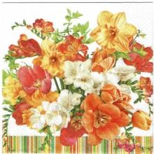Servilleta decorada Flores naranjas