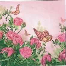 Servilleta decorada Rosas con mariposa