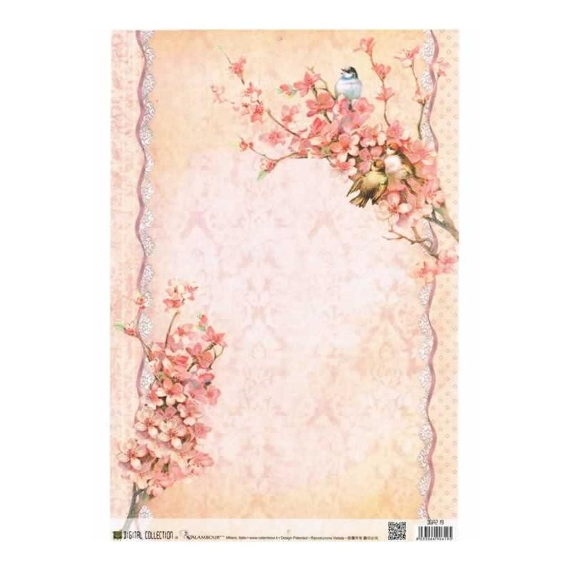 Papel de arroz 35 x 50 cm Flores de Durazno
