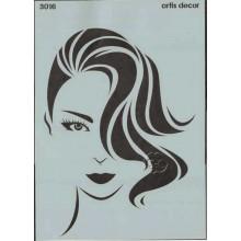 Plantilla stencil rostro de mujer 30 x 40 cm