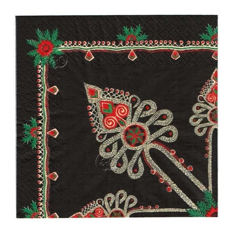 Servilleta decorada navidad Folk Fondo negro
