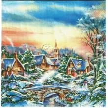Servilleta decorada navidad Aldea nevada