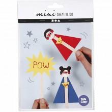 Mini kit creativo superhéroe con palos de polo