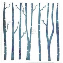 Plantilla stencil Navidad Bosque de abedul 15 x 15 cm