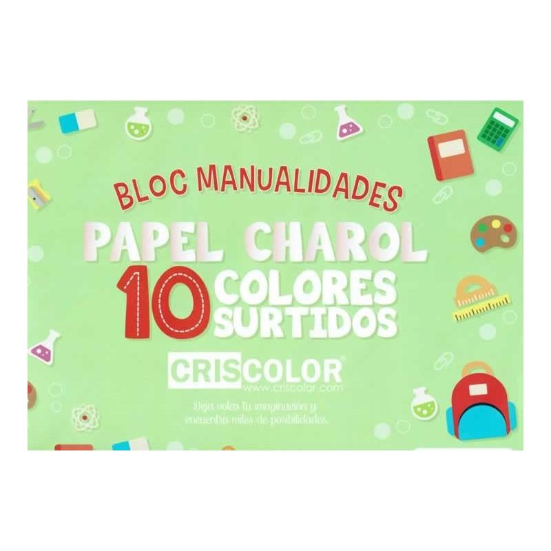 Papel charol, bloc con 11 colores tamaño A3 (42 x 30 cm)