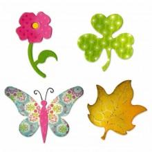 Troquel Sizzix Mariposa, flor trebol y hoja A10600