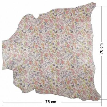 Piel entera fantasia flores rosas 70 x 75 cm