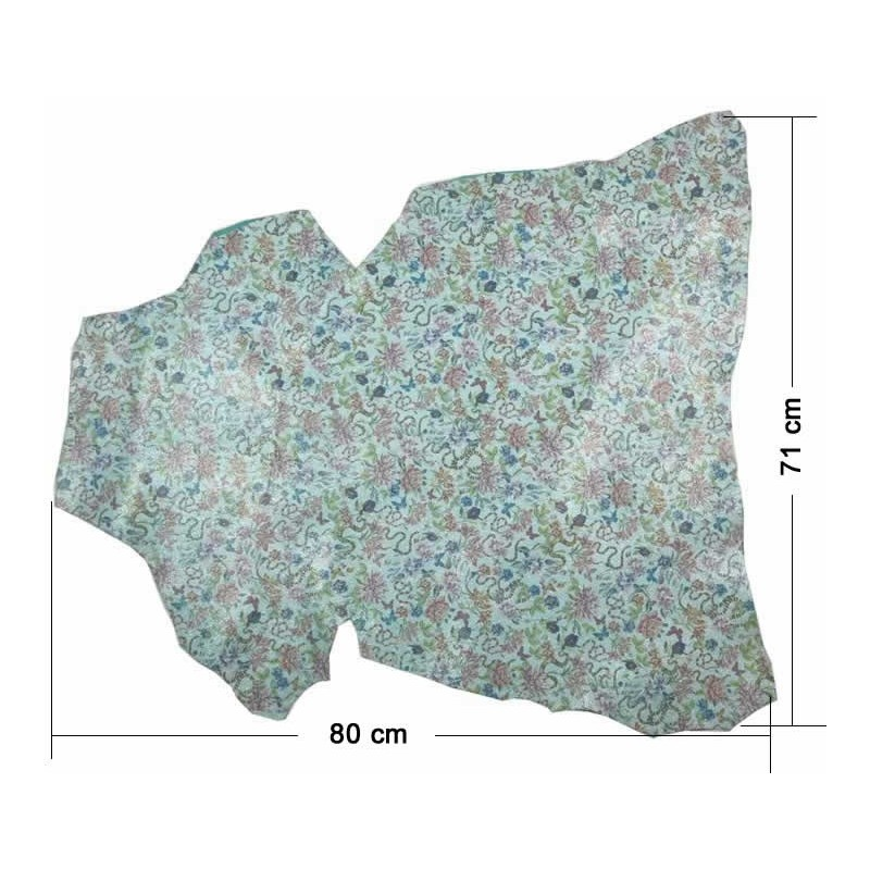 Piel entera fantasia flores turquesa claro 71 x 80 cm