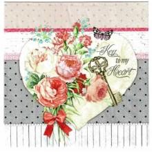Servilleta decorada Corazon de flores