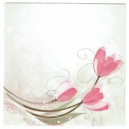 Servilleta decorada Tulipanes Rosas