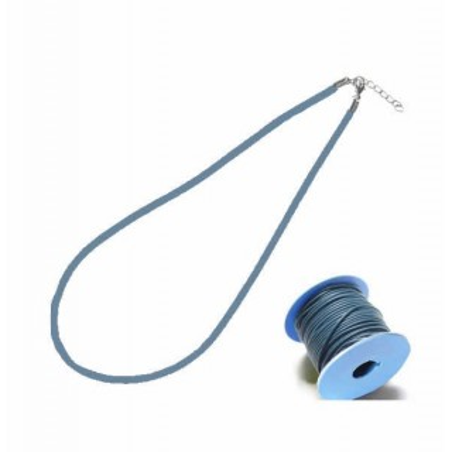 Cordón para colgante, de cuero 2 mm con cierre