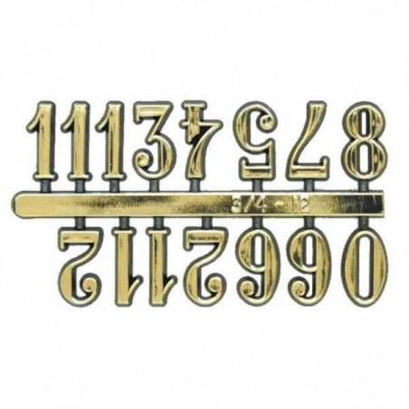 Números para reloj color dorados de plástico, adhesivos