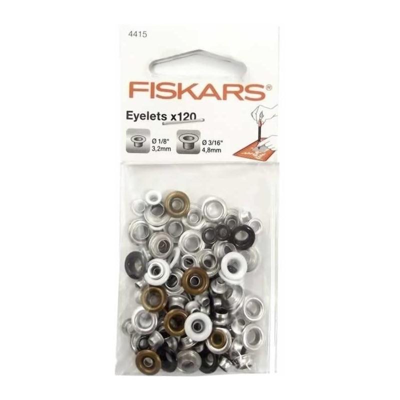 Ojetes Fiskars 120 unidades 2 tamaños surtidos