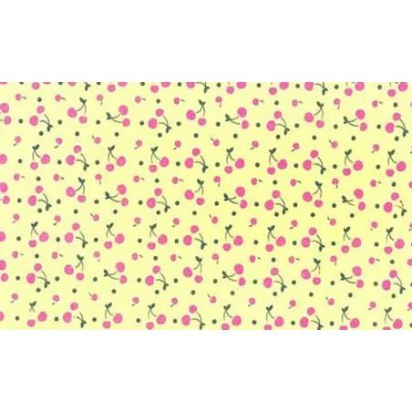 Plancha de goma eva estampada amarillo con cerezas 2 mm