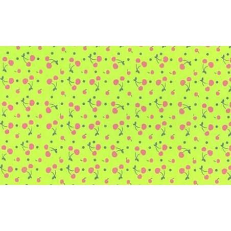 Plancha de goma eva estampada verde con cerezas 2 mm