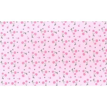 Plancha de goma eva estampada rosa con cerezas 2 mm