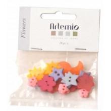 Botones Aremio Flowers 19 unidades