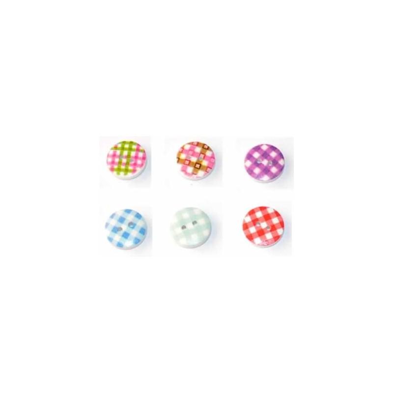 Botones Vichy de colores 15 mm