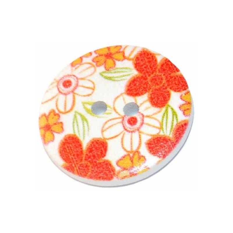 Botón de madera decorado flores rojas 25 mm