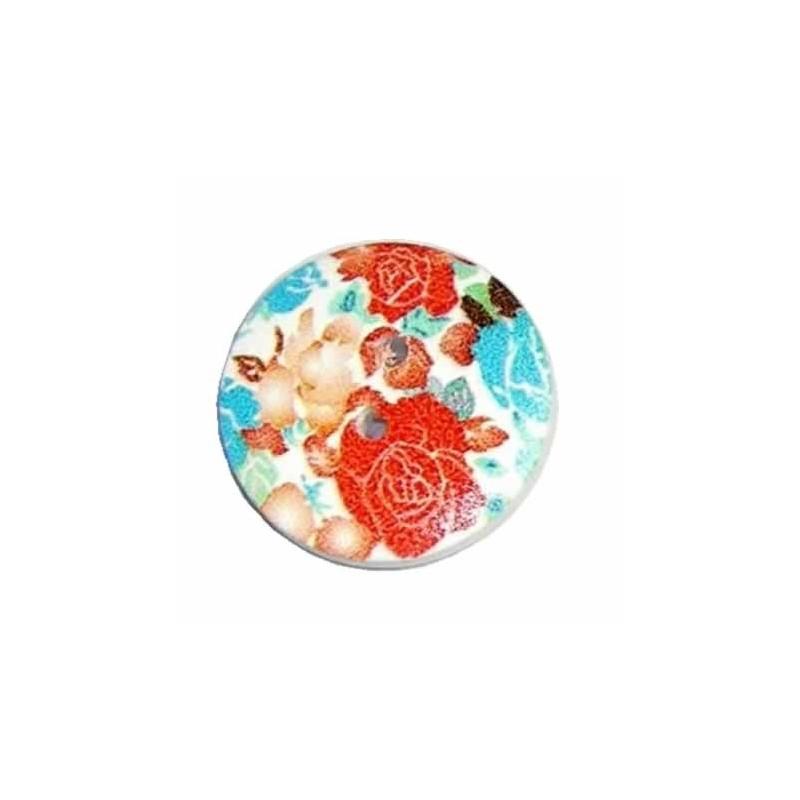 Botón de madera rosas rojas 30 mm
