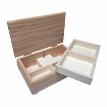 Joyero madera, dos bandejas con musica. 23 x 11 x 8,cm