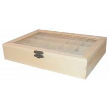 Caja de madera con tapa de cristal con divisiones 22 x 16 x 5 cm