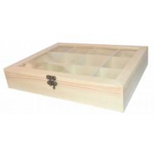 Caja con tapa de cristal con 12 divisiones 28 x 22 x 5 cm