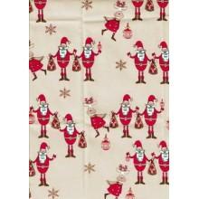 Tela loneta de navidad Papa Noel con Reno