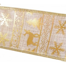 Cinta de navidad copos arboles y renos para decoracion oro