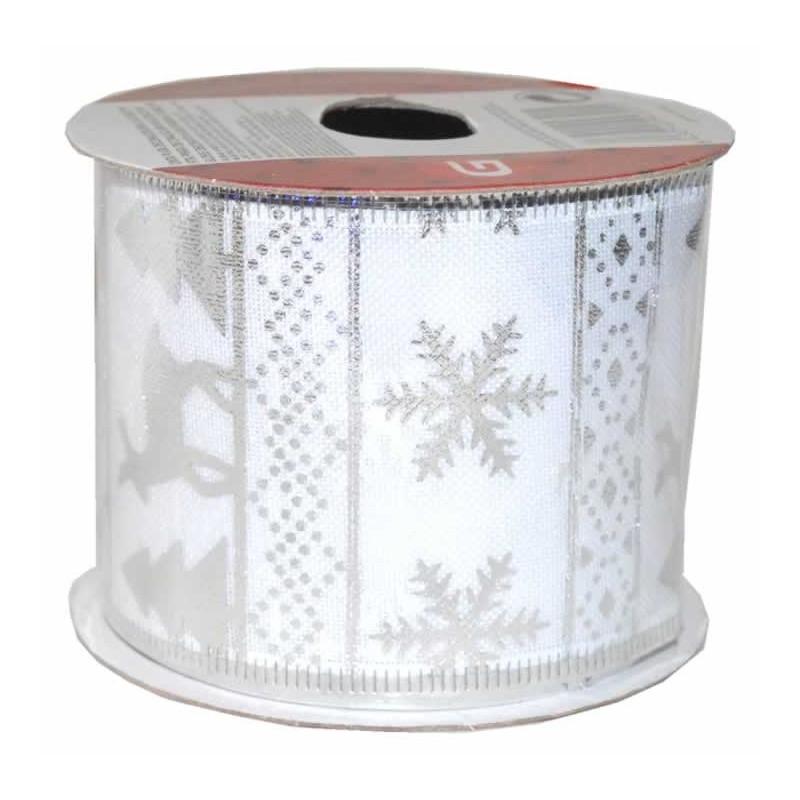 Cinta de navidad copos arboles y renos para decoracion plata