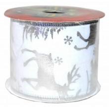 Cinta de navidad para decoracion renos y abetos en plata