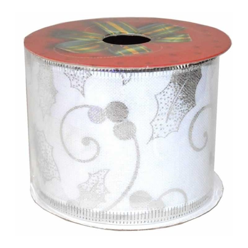 Cinta de navidad para decoracion acebo en plata
