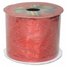 Cinta de navidad para decoracion de tul rojo con cenefas