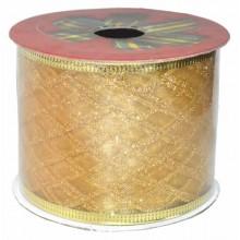 Cinta de navidad para decoracion de tul oro con cenefas