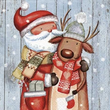 Servilleta navidad Papa Noel con Reno