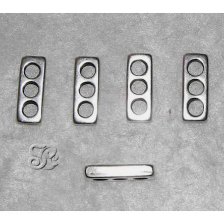4 Separadores 3 agujeros Plata antigua