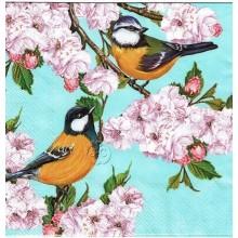 Servilleta decorada Pájaros en cerezo en flor