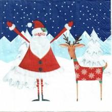 Servilleta decorada Santa con ciervos