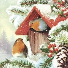 Servilleta decorada de Navidad pájaros en casa
