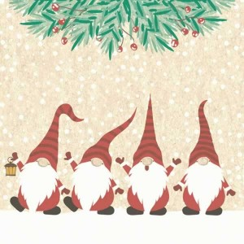Servilleta decorada de Navidad Fila de Santas