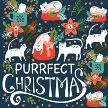 Servilleta decorada de Navidad Purrfect