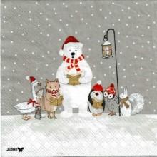 Servilleta decorada coro de navidad