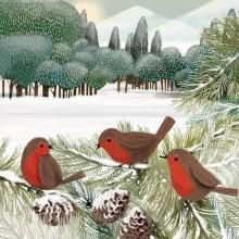 Servilleta decorad de navidad Pájaros del prado
