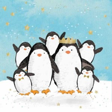 Servilleta decorada de navidad Familia de pingüinos