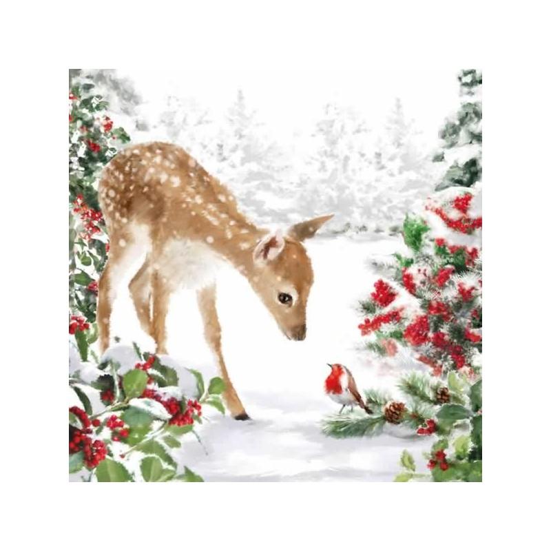 Servilleta decorada de navidad Bambi